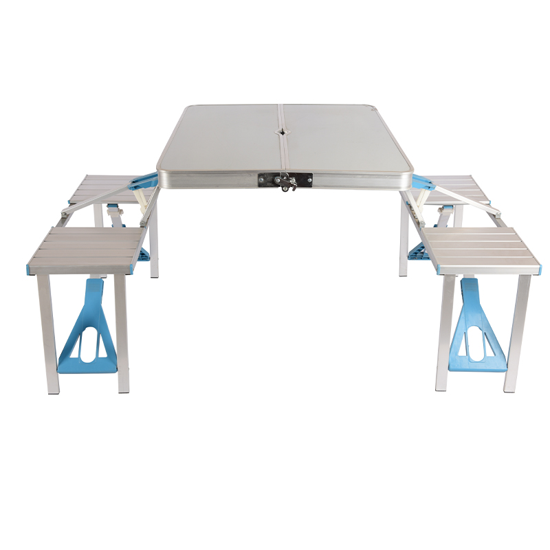JY-001 PICNIC TABLE & 4 CHAIRS OUTDOOR ALUMINIUM PLASTIC FOLDABLE PORTABLE