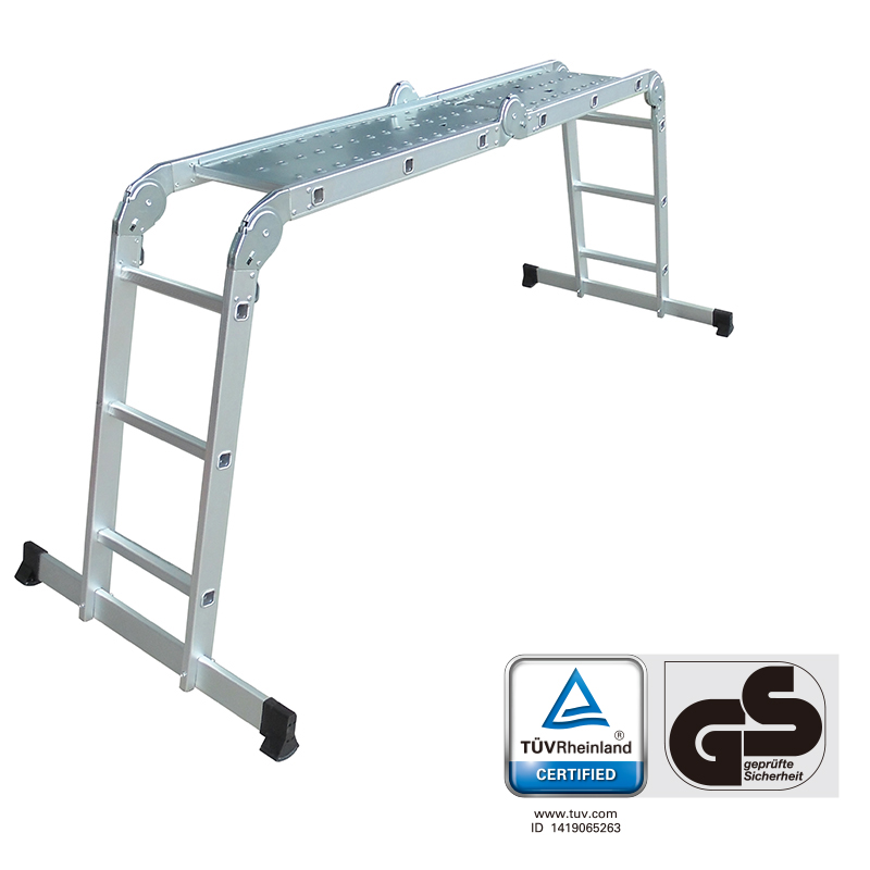LCG3412BR  3.38m  TUV/GS  Multi-Purpose  4x3 Aluminium Folding  Ladder with Platform Scaffold Step