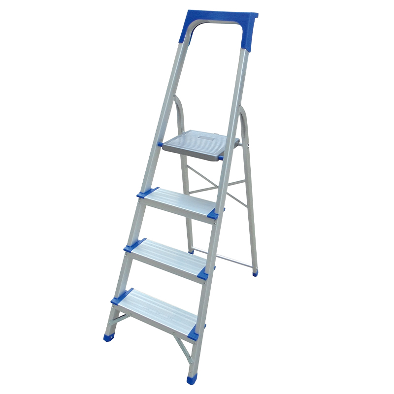 LJ303DLT -LJ30DLT 120mm big step 3-9 Steps Ladder with plastic tool tray Folding Aluminium Ladders with Safety Non-Slip Step