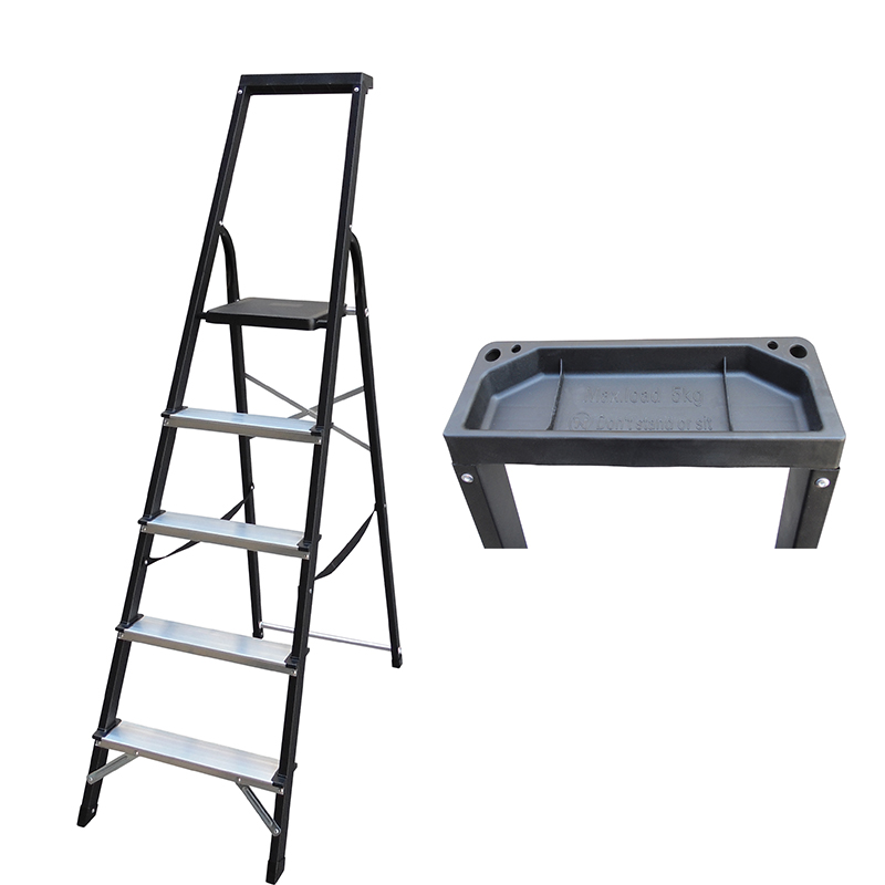 LJS503D-508D 3-7 Steps Ladder Folding Aluminium Ladders with Safety Non-Slip Step