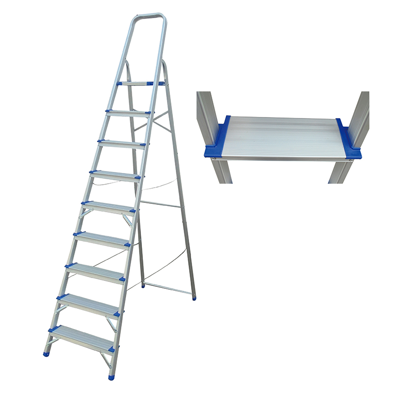 120mm wide steps  3-9 Steps Ladder Folding Aluminium Ladders with Safety Non-Slip Step